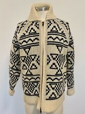J. Crew Sweater Wool Full Zip Up Size Medium Snowflake Aztec Diamond Pattern