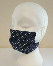 Face Mask Pleated Navy Polka Dot (single) Reusable, Washable, Dual Layered.