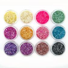 12 PCS Colors UV Gel Glitter Beads Powder Crushed Shell Nail Art Decor Sets Tips