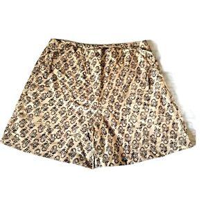 Paperbag Drawstring Pocketed Tan Black Printed Cotton Shorts Size L Juniors