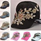 New Women Glitter Rhinestone Bling Hats Adjustable Denim Baseball Cap Hat Tennis