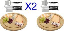 Lote 2 Tablas de Madera de Bambú para Cortar Queso + 6 Cuchillos,cocina,menaje