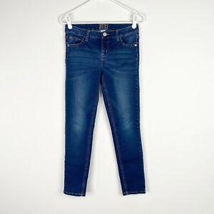 Justice Girls Mid Rise Super Skinny Jeans 14 Dark Wash Denim