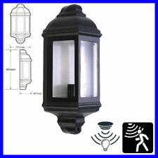 Half Lantern Wall Light Outdoor Clear Glass Segments PIR Motion Dusk Dawn Sensor