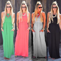 Women Sleeveless Summer Evening Party Boho Beach Loose Long Maxi Dress Plus Size