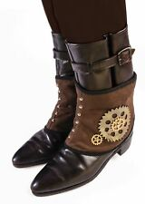 Brown Steampunk Short Costume Spats Shoe Covers Victorian Mechanical Gears Adult