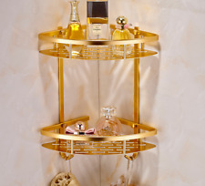 New 2 Tier Shower Caddy Shelf Storage Space Aluminum Corner Bathroom Rack Basket