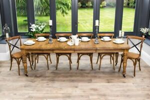 LARGE OAK EXTENDABLE FARMHOUSE DINING TABLE VICTORIAN STYLE TABLE