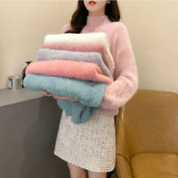 Women Faux Mohair Fur Sweater Fluffy Jumper Pullover Top Turtleneck Bead Casual