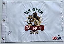 Dustin Johnson signed 2016 u.s. open flag oakmont golf pga beckett