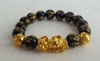 Armband Feng Shui Bixie Schwarz / Gold Pixiu Pinyin pi xiu Herren Damen Armkette