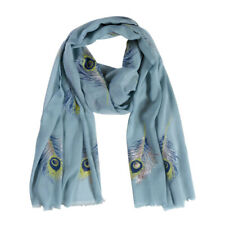Quintessential Blue Peacock Feather Scarf Feathers Metallic Detail Shawl Wrap