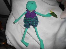 "Hallmark Green Frog Plaid Shorts Long Arms Legs Plush Lovey 12"" Flower"