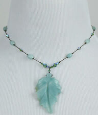 DABBY REID NEW Adventurine Seafoam Hematite Leaf Pendant Necklace PMN8192B Y27