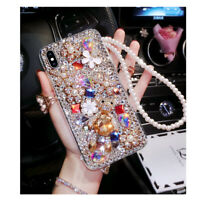 For iPhone XS Max XR Samsung S10 S7 Luxury Bling Diamond Case Pearl Strap Cover