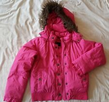 GIRLS GAP PINK PADDED BOMBER STYLE JACKET WITH REMOVABLE HOOD AGED 12-13 YEARS