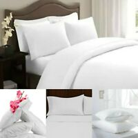 100% Egyptian Cotton 200 Thread Count White Pillowcases Pair  Bed Pillow Covers
