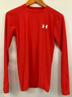 Under Armour Mens Red Heat Gear Long Sleeve Athletic T Shirt Size Medium