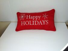 Christmas Holiday Red Satin Snowflake Accent Pillow