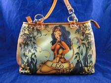 Isabella Fiore Brown Leather Zodiac Purse LEO Shoulder Bag August Lion