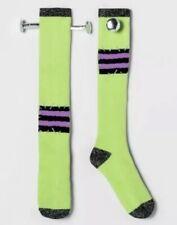 Women's Knee High Green Black Sock Size 9-11 3D Frankenstein Halloween Socks NWT