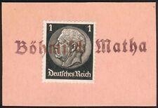 """WWII Old German orig. Mi.-Nr.512 als Briefstück Versuchsstempel """"BÖMISCH MATHA"""""""