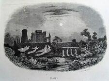 Bi1-12 Gravure 1845 chateaux historiques par Théodore Frère - Blandy