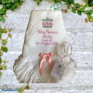 Personalised Baby Blanket  shawl christenings etc CAROUSEL DESIGN SILVER OR GOLD