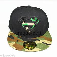 New Superman hiphop Black Green Camo Snapback Adjustable baseball cap flat  hat 2854eb1605