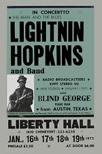 Texas Blues Master:  Lightnin' Hopkins at Liberty Theatre Concert Poster 1975
