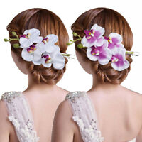 Women Artificial Butterfly Orchid Flowers Hairpin Wedding Hair Accessories