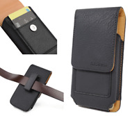 Black Vertical Leather Pouch Wallet Carrying Case Swivel Holster For ZTE Axon M