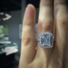 2CT Emerald Cut Diamond Engagement & Bridal wedding Band Ring 14K White Gold Fn