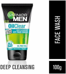 2 X Garnier Men Oil Clear Deep Cleansing Clay D Tox Icy Face wash 100 gm