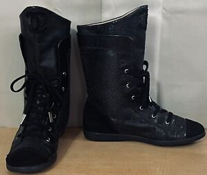 Chanel Black Leather Perforated CC Logo Lace Up Women's Flats Boots EU 38/8