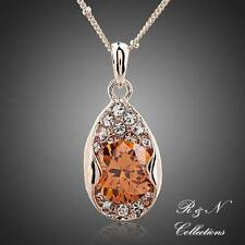 18K Rose Gold Plated Studded with Citrine Zircon Necklace (N566-30)