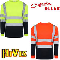 MENS HIGH VISIBILITY LONG SLEEVE T SHIRTS HI VIZ REFLECTIVE TAPE WORK TEE TOP