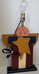 """Wooden Angel and Star Christmas Lamp Primative Painted Wood 18"""" H NO Lampshade"""
