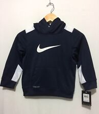 NWT Boys Nike Therma-Fit Longsleeve Hoodie Pullover Navy Blue-White Size 5