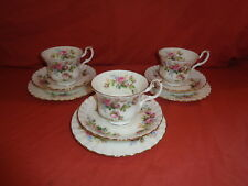 Royal Albert Moss Rose Cup Saucer Plate Triox 3 1st Quality