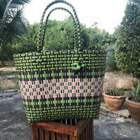 Tote Woven Handbag Large Grocery Shopping Handmade Checkere Style Vintage Retro