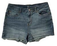 Gap Womens 12/31 High Rise Cut Off Jean Shorts Stretch Medium Wash Denim