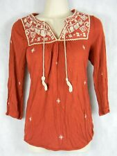 Women's Lucky Brand Rust Embroidered peasant long Sleeve Top Size XS Juniors top