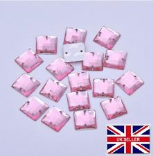100 X Pink Square a Grade Sew on JEWEL 10mm Gem Crystal Rhinestone Trim Bead #6