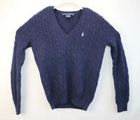 Ralph Lauren Womens Size Large Blue Sweater Cable Knit Fisherman Long Sleeve