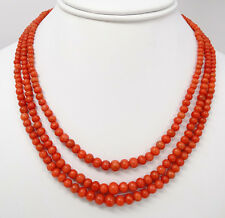 Antique 14K Natural Red Coral 3 Strand Necklace 55.4g HUGE 14k Bow Clasp
