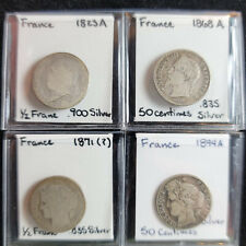 France lot of 4 silver 1/2 franc & 50 centimes coins 1823A 1868A 1871? 1894A