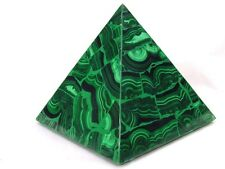 """BUTW Hand Carved Zaire Africa Malachite 4 5/16"""" Pyramid Heal Lapidary 0130K ab"""