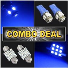 "4x Blue Led Lights For Map T10 + Dome Lights 1.25"" 31mm #9"