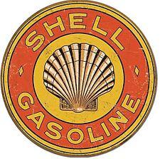 Shell Gasoline 1920s Logo Round Metal Sign  (de)